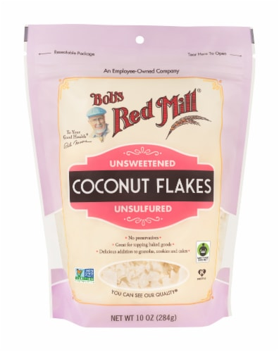 Bob's Red Mill Unsweetened Unsulfured Coconut Flakes Perspective: front