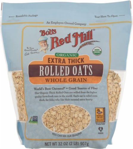 Bob's Red Mill Organic Extra Thick Whole Grain Rolled Oats Perspective: front