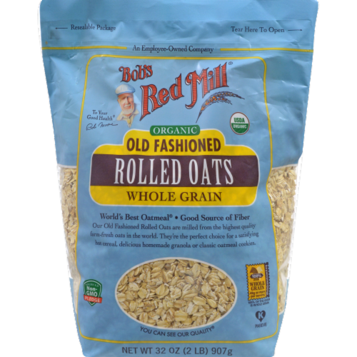 Bob's Red Mill Organic Old Fashioned Whole Grain Rolled Oats Perspective: front