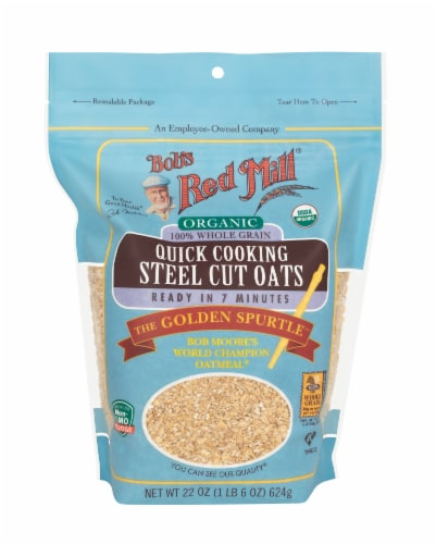 Bob's Red Mill Organic Whole Grain Quick Cooking Steel Cut Oats Perspective: front