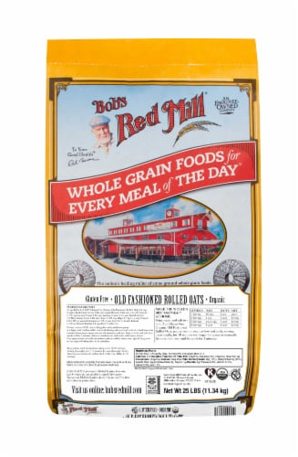 Bobs Red Mill Gluten Free Organic Old Fashioned Rolled Oats, 25 Pound -- 1 each. Perspective: front