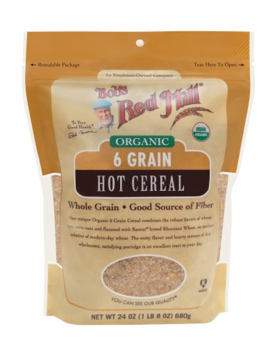 Bob's Red Mill Organic 6 Grain Hot Cereal Perspective: front