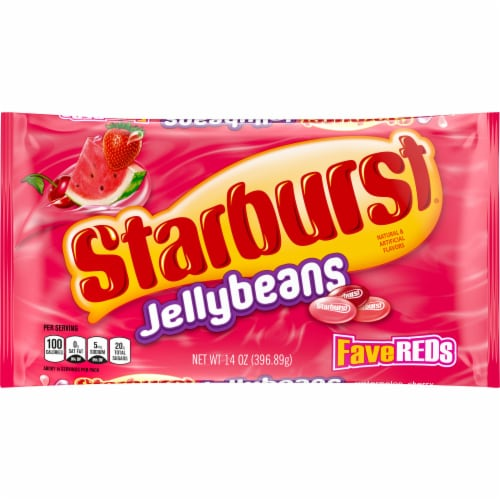 STARBURST FaveREDS Jelly Beans Chewy Easter Candy Bag Perspective: front