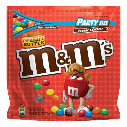 M&M's Peanut Butter Chocolate Candy Party Size Perspective: front