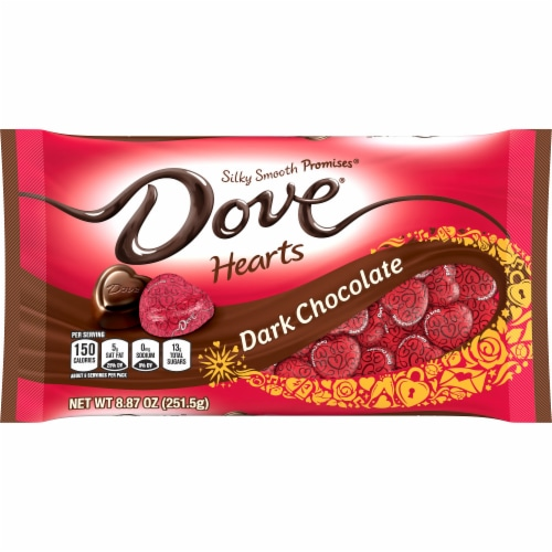 DOVE PROMISES Valentines Day Dark Chocolate Valentine Candy Hearts Bag Perspective: front