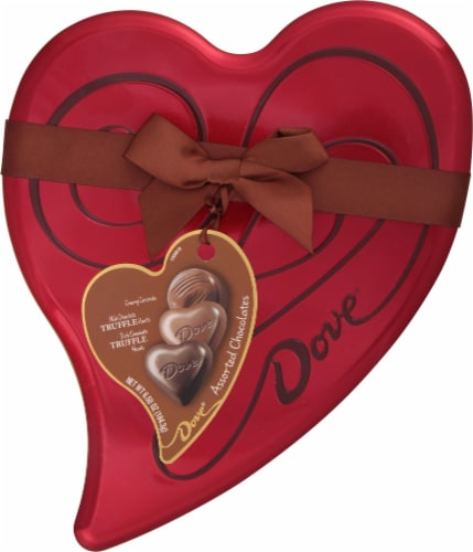 Dove Creamy Caramels Milk Chocolate Heart Truffles & Dark Chocolate Heart Truffles Heart Tin Perspective: front
