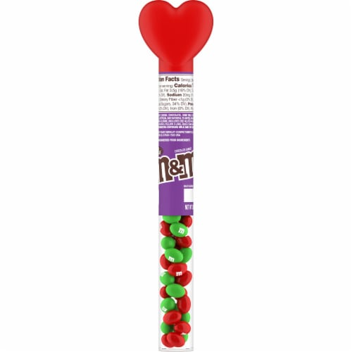 M&M'S Milk Chocolate Valentine Candy Heart Candy Cane Perspective: front