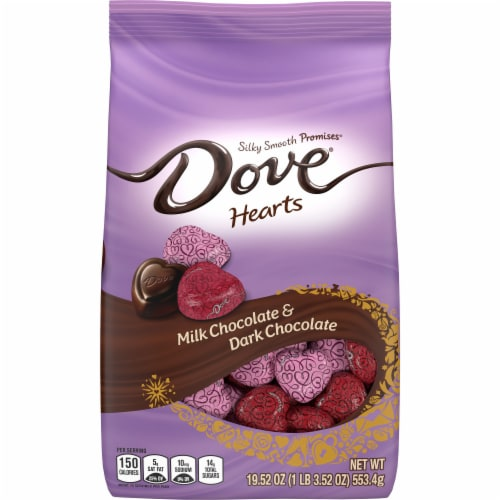 DOVE PROMISES Milk Chocolate & Dark Chocolate Assorted Valentine Candy Hearts Perspective: front