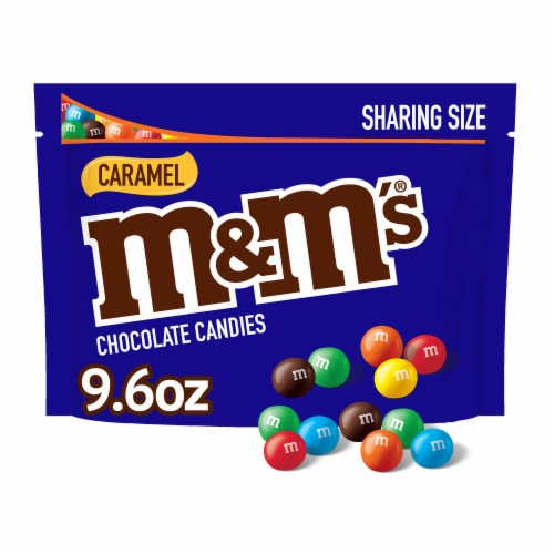 M&M'S, Caramel Chocolate Candy, Sharing Size, 9.6 Oz Bag Perspective: front