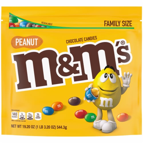 M&M's® Peanut & Milk Chocolate Bite Size Candies Perspective: front