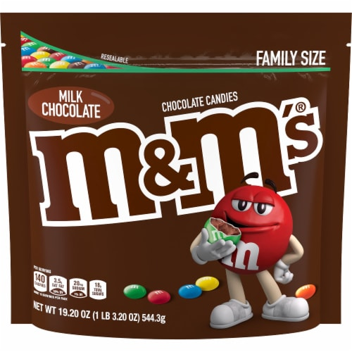 M&M'S Milk Chocolate Candy Family Size Bag Perspective: front