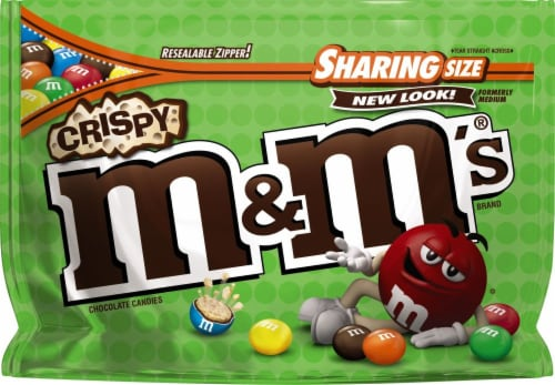 M&M's Crispy Chocolate Candies Sharing Size Bag Perspective: front