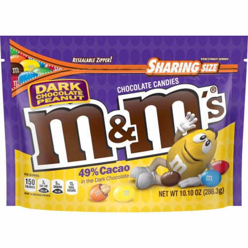 M&M's Dark Chocolate Peanut Candies Sharing Size Bag Perspective: front