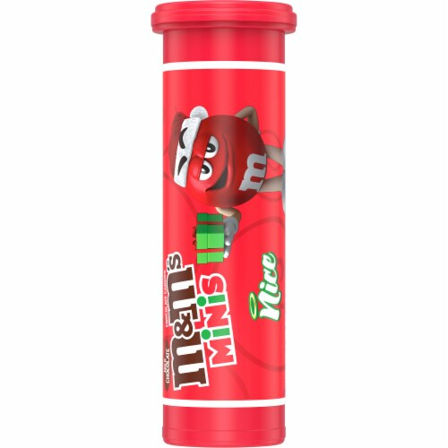 M&M'S Minis Holiday Candy Mini Tube Christmas Stocking Stuffers Perspective: front