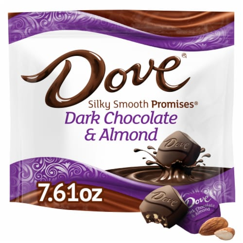 DOVE PROMISES Dark Chocolate Almond Candy Perspective: front
