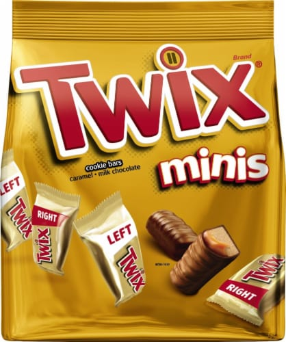 TWIX Caramel Chocolate Cookie Bar Minis Size Summer Candy Bag Perspective: front