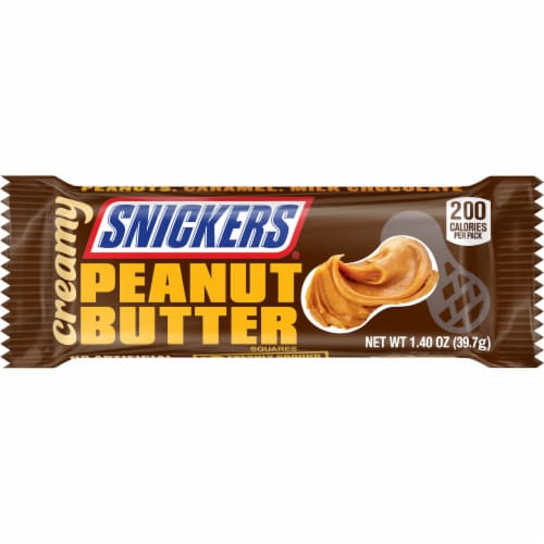 Snickers Creamy Peanut Butter Squares Perspective: front