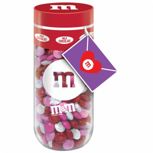 M&M's Valentine's Day Peanut Chocolate Candy Gift Jar Perspective: front