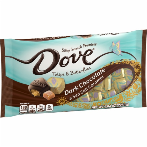 DOVE PROMISES Dark Chocolate & Sea Salt Tulips & Butterflies Spring Mix Easter Candy Bag Perspective: front