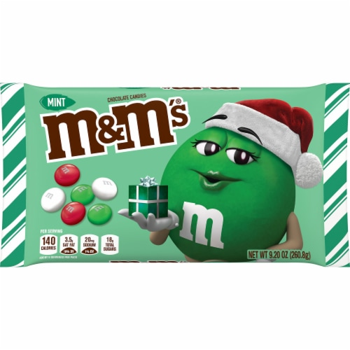 M&M'S Holiday Mint Chocolate Christmas Candy Perspective: front