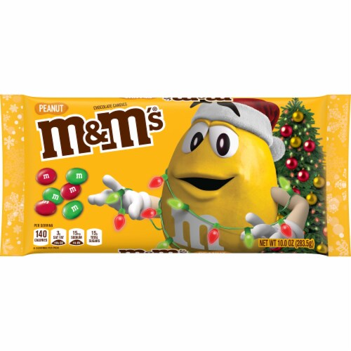 M&M'S Christmas Peanut & Milk Chocolate Holiday Candy Perspective: front
