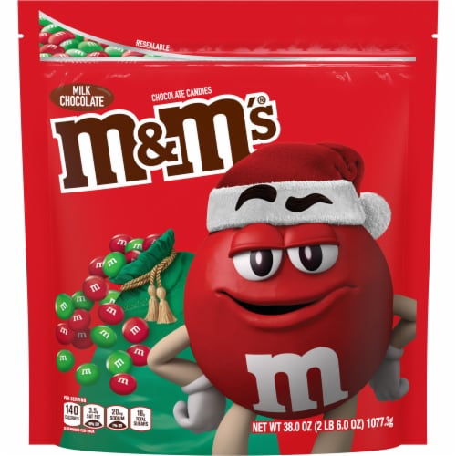 M&M'S Christmas Milk Chocolate Holiday Candy Perspective: front