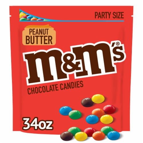 M&M'S Peanut Butter Chocolate Candy, 34-Ounce Party Size Bag Perspective: front