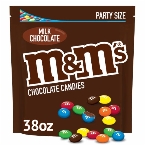 M&M'S Milk Chocolate Candy, 38-Ounce Party Size Bag Perspective: front