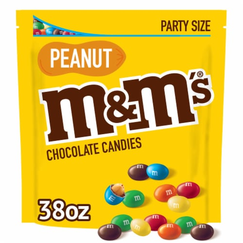 M&M's Peanut Chocolate Candy Party Size Bag Perspective: front