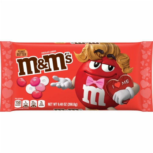 M&M'S Valentines Day Peanut Butter Chocolate Valentine Candy Bag Perspective: front