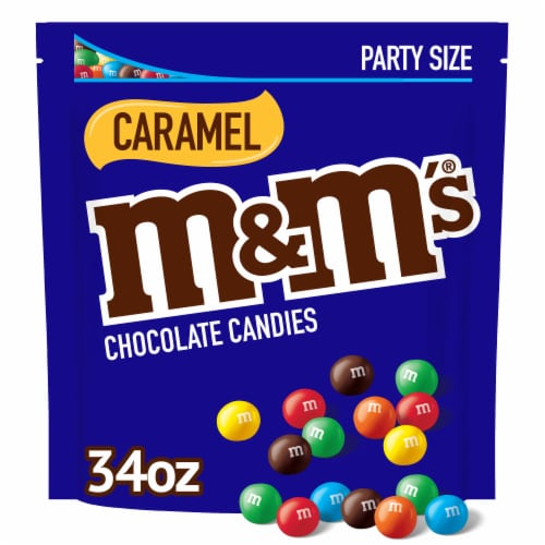 M&M's Caramel Chocolate Candies Party Size Stand Up Pouch Perspective: front