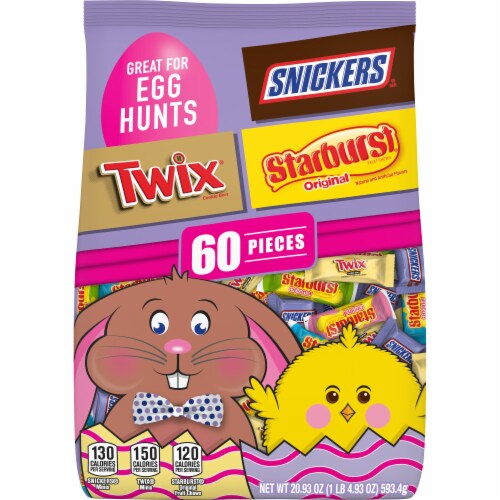 Snickers Twix & Starburst Assorted Chocolate & Fruity Easter Candy Variety Mix Bag Perspective: front