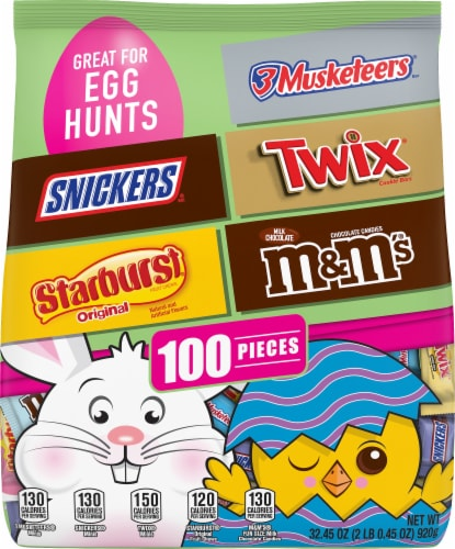 SNICKERS, STARBURST, 3 MUSKETEERS, TWIX, M&M'S Milk Chocolate Easter Candy Variety Mix 100 Piece Bag Perspective: front