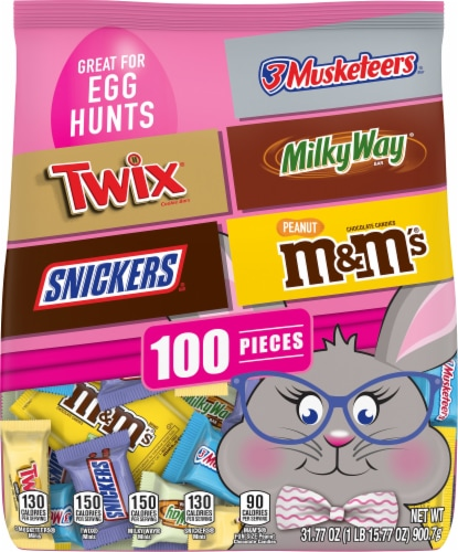 SNICKERS, TWIX, M&M'S Peanut, MILKY WAY & 3 MUSKETEERS Assorted Chocolate Easter Candy 100 Piece Bag Perspective: front