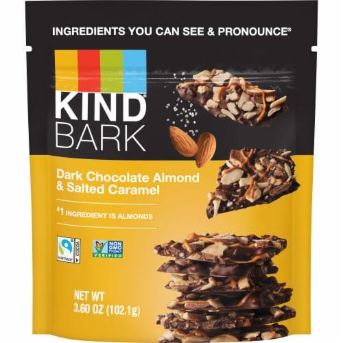 KIND Dark Chocolate Almond & Salted Caramel Bark Perspective: front