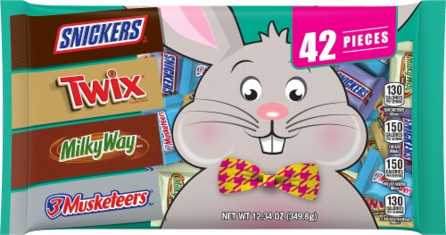 SNICKERS, TWIX, MILKY WAY & 3 MUSKETEERS Minis Assorted Chocolate Easter Candy Variety Bag 42 Pieces Perspective: front