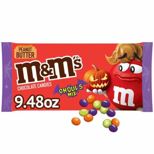 M&M's® Ghoul's Mix Peanut Butter Chocolate Halloween Candy Perspective: front