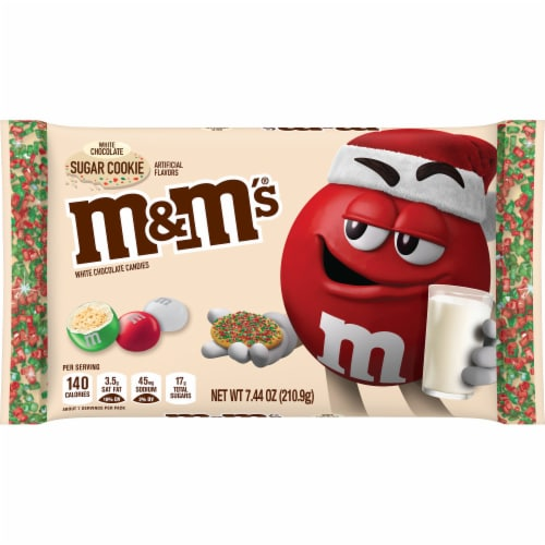 M&M'S Holiday White Chocolate Sugar Cookie Christmas Candy Perspective: front