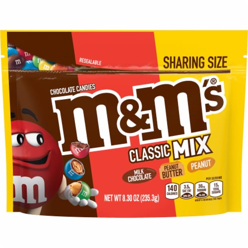 M&M's Classic Mix Chocolate Candy Sharing Size Bag Perspective: front