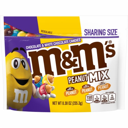 M&M's Peanut Mix Chocolate Candy Sharing Size Bag Perspective: front
