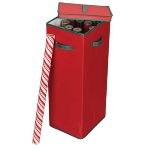 Home Essentials 580RED Wrapping Paper Holder Red with Green Trim Perspective: front