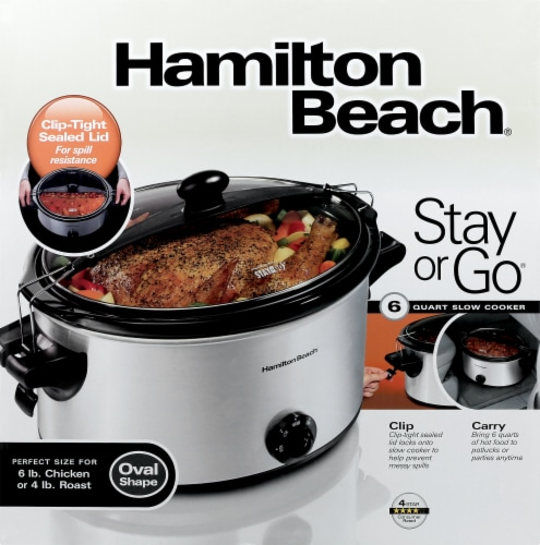 Hamilton Beach Stay or Go Slow Cooker - Silver/Black Perspective: front