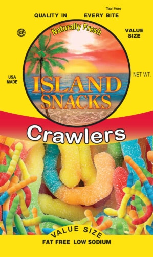Island Snacks Crawlers Gummy Worms Perspective: front