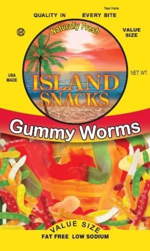 Island Snacks Gummy Worms Value Size Perspective: front