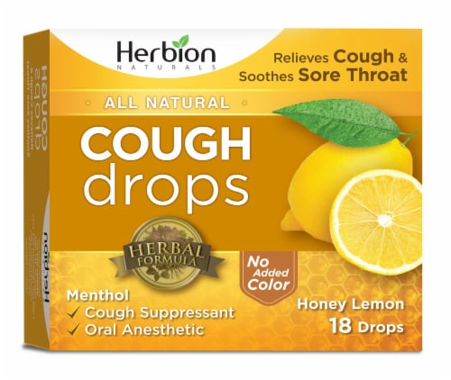 Herbion All Natural Cough Drops - Honey Lemon Perspective: front