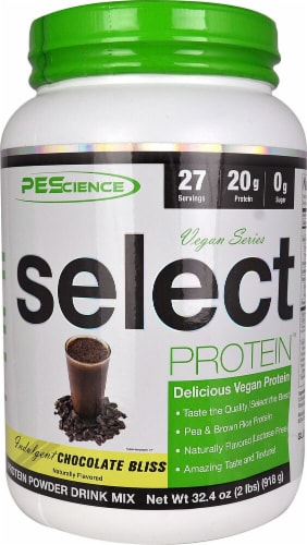 PEScience Chocolate Vegan Protein Perspective: front