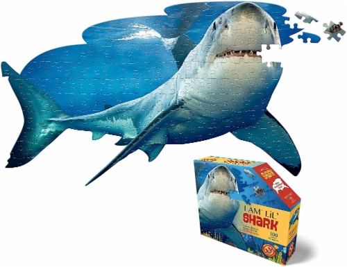 I AM Lil Shark 100 Piece Animal-Shaped Jigsaw Puzzle Perspective: front