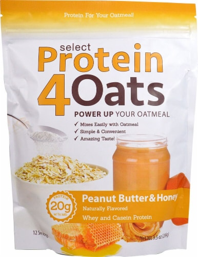 PEScience  Select Protein4Oats   Peanut Butter & Honey Perspective: front