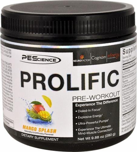 PEScience Prolific Mango Splash Pre-Workout Perspective: front