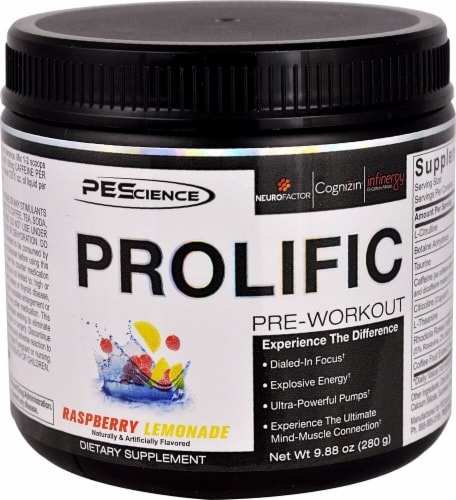 PEScience Prolific Raspberry Lemonade Pre-Workout Perspective: front